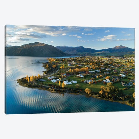 Wanaka and Lake Wanaka in autumn, Otago, South Island, New Zealand Canvas Print #DWA35} by David Wall Canvas Art