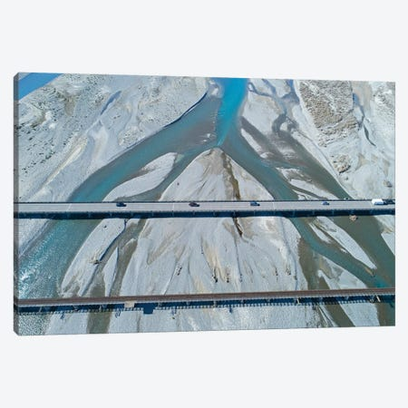 Road And Rail Bridges Across Rakaia River, Rakaia, Mid Canterbury, South Island, New Zealand 3-Piece Canvas #DWA50} by David Wall Art Print