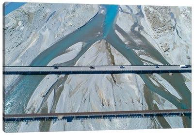 Road And Rail Bridges Across Rakaia River, Rakaia, Mid Canterbury, South Island, New Zealand Canvas Art Print