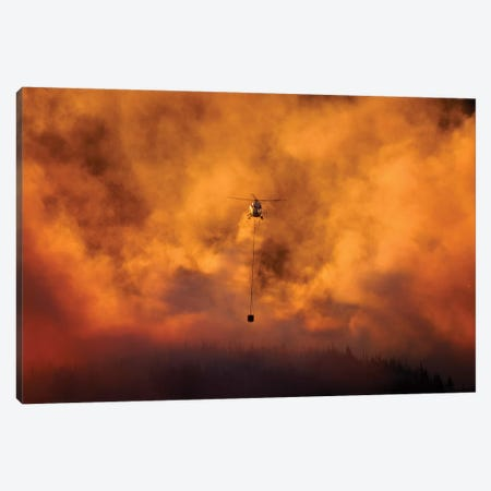 Smokey Sunset And Helicopter Fighting Fire At Burnside, Dunedin, South Island, New Zealand Canvas Print #DWA51} by David Wall Canvas Print