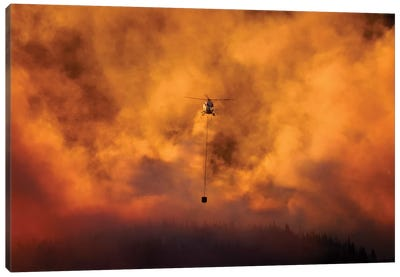 Smokey Sunset And Helicopter Fighting Fire At Burnside, Dunedin, South Island, New Zealand Canvas Art Print