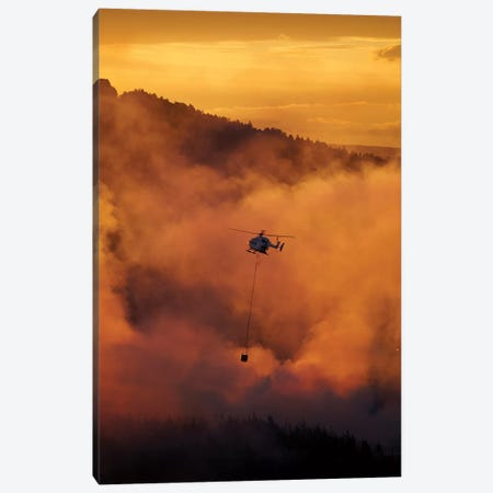 Smokey Sunset And Helicopter Fighting Fire At Burnside, Dunedin, South Island, New Zealand Canvas Print #DWA52} by David Wall Canvas Print