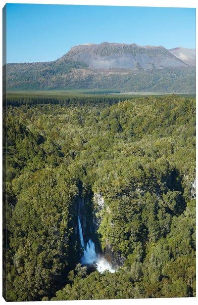 Tarawera Falls On Tarawera River, And Mount Tarawera Volcano, Near Rotorua, North Island, New Zealand Canvas Art Print