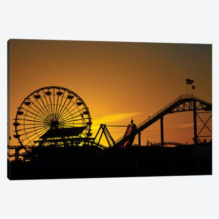 Pacific Wheel & West Coaster At Sunset, Santa Monica Pier, Santa Monica, California, USA Canvas Print #DWA5} by David Wall Canvas Art Print