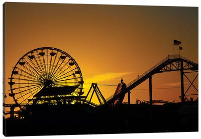 Pacific Wheel & West Coaster At Sunset, Santa Monica Pier, Santa Monica, California, USA Canvas Art Print