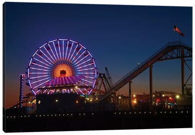 Pacific Wheel & West Coaster At Night, Santa Monica Pier, Santa Monica, California, USA Canvas Art Print