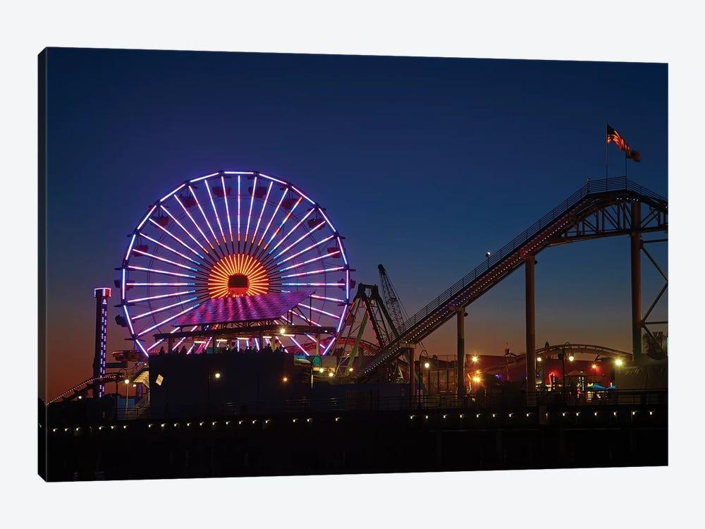 Pacific Wheel & West Coaster At Night, Santa Monica Pier, Santa Monica, California, USA by David Wall 1-piece Canvas Artwork
