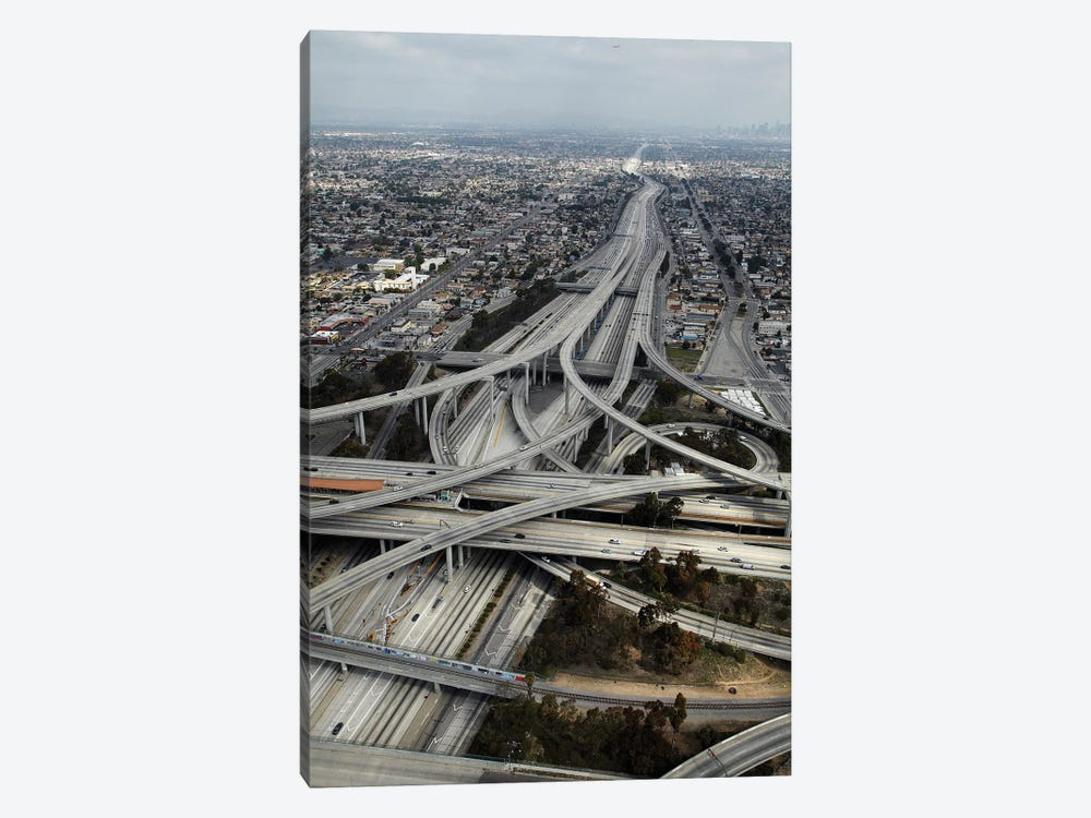 Aerial View I, Judge Harry Pregerson Interchange, South Los Angeles, California, USA by David Wall 1-piece Canvas Print