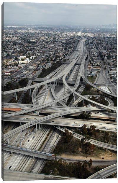 Aerial View I, Judge Harry Pregerson Interchange, South Los Angeles, California, USA Canvas Art Print