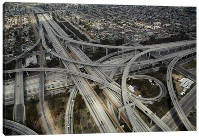 Aerial View II, Judge Harry Pregerson Interchange, South Los Angeles, California, USA Canvas Art Print