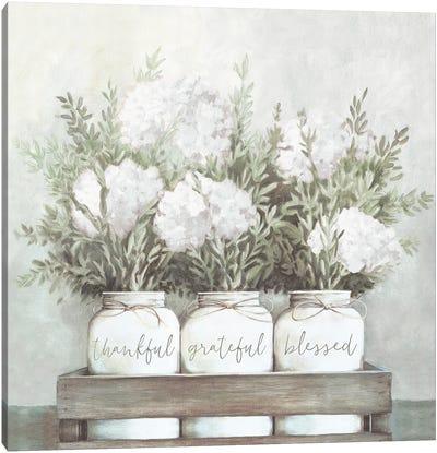 White Flower Jars Canvas Art Print