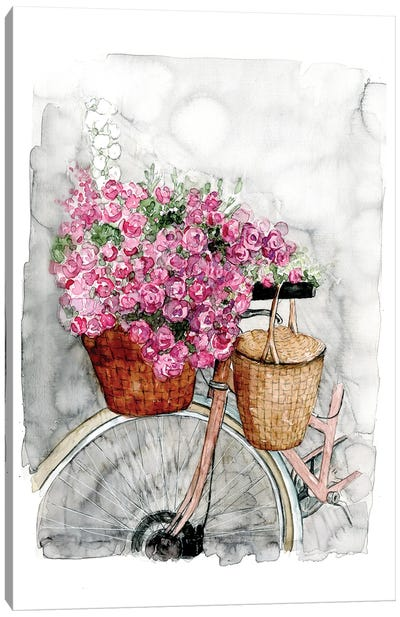 Bicycle In Spring Canvas Art Print