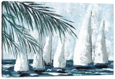 Sailboats Behind The Palms Canvas Art Print