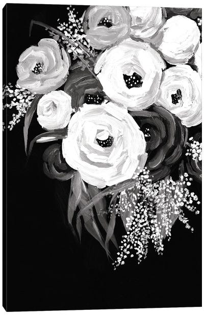 Black And White Floral Canvas Art Print