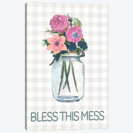 Bless This Mess Flowers Canvas Print #DWD7} by Dogwood Portfolio Canvas Artwork