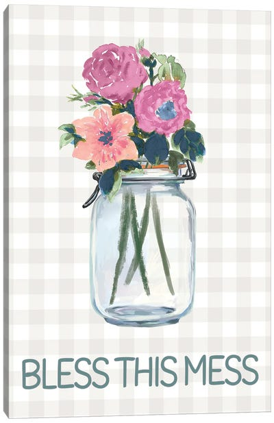 Bless This Mess Flowers Canvas Art Print