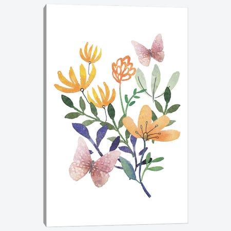Butterflies And Flowers Canvas Print #DWD9} by Dogwood Portfolio Canvas Art Print