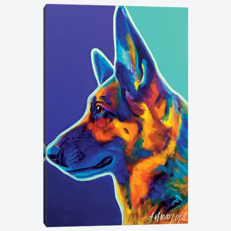 Schatze The German Shepherd Canvas Print #DWG123} by DawgArt Canvas Art Print