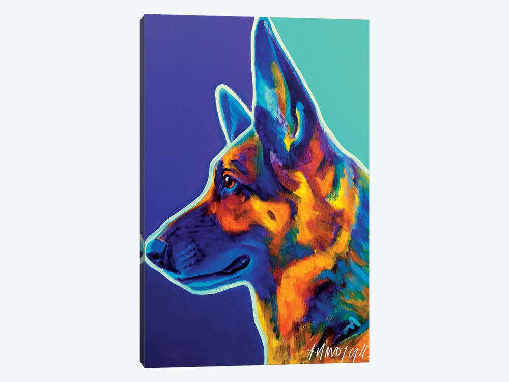 Schatze The German Shepherd by DawgArt 1-piece Canvas Print