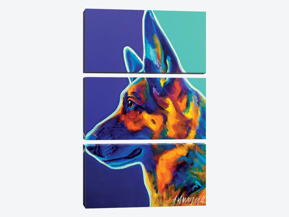 Schatze The German Shepherd by DawgArt 3-piece Canvas Print