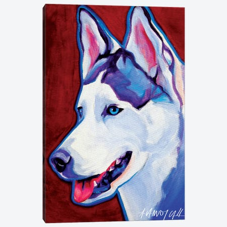 Siberian Husky Canvas Print #DWG125} by DawgArt Canvas Artwork
