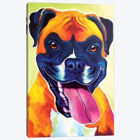 Bear The Boxer Canvas Print #DWG13} by DawgArt Art Print