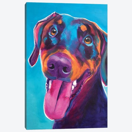 Annie The Doberman Canvas Print #DWG147} by DawgArt Canvas Wall Art