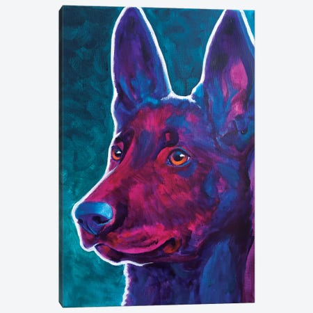 Belgian Malinois Burgundy Canvas Print #DWG14} by DawgArt Canvas Artwork