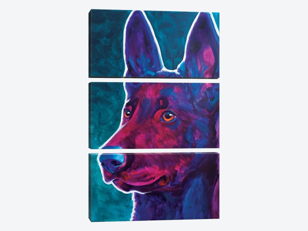 Belgian Malinois Burgundy by DawgArt 3-piece Art Print