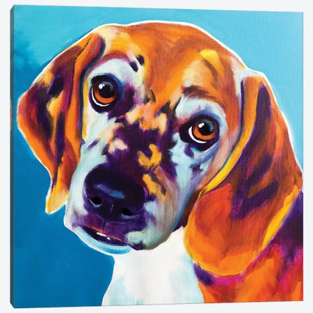 BJ The Beagle Canvas Print #DWG152} by DawgArt Canvas Wall Art