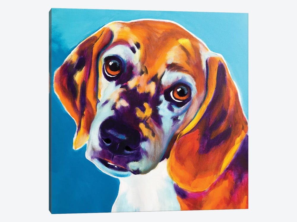 BJ The Beagle by DawgArt 1-piece Canvas Art Print