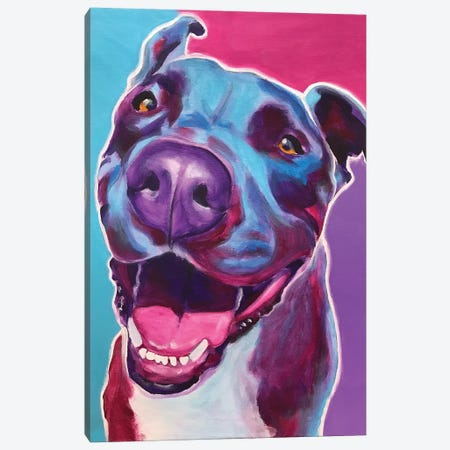Candy The Pit Bull Canvas Print #DWG153} by DawgArt Canvas Art