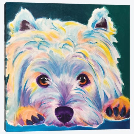 Chispy The Westie II Canvas Print #DWG157} by DawgArt Canvas Art Print