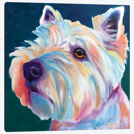 Chispy The Westie III Canvas Print #DWG158} by DawgArt Canvas Artwork