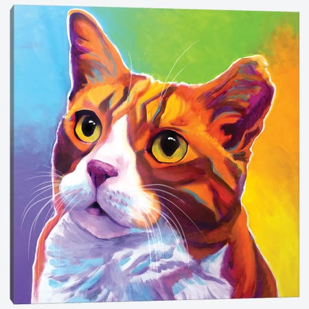 Ernie The Cat Canvas Print #DWG165} by DawgArt Canvas Wall Art