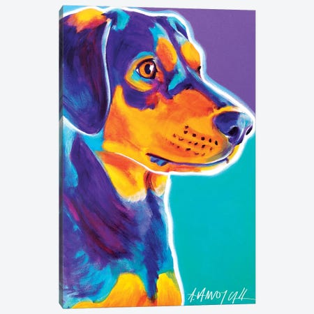 Black And Tan Charlie Canvas Print #DWG16} by DawgArt Canvas Art