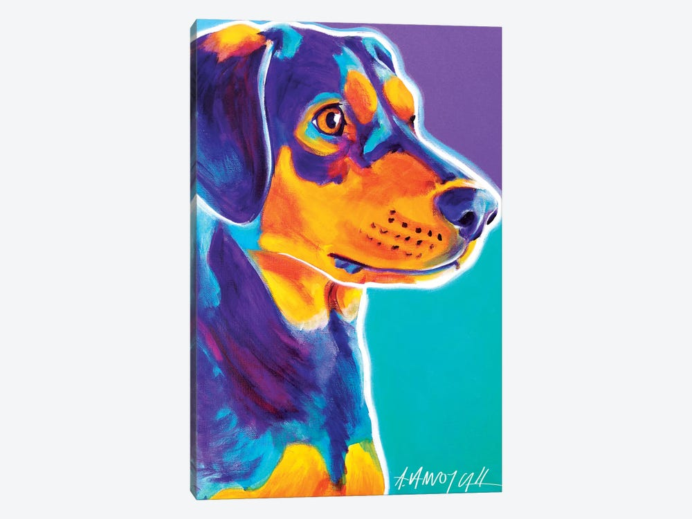 Black And Tan Charlie by DawgArt 1-piece Canvas Art Print