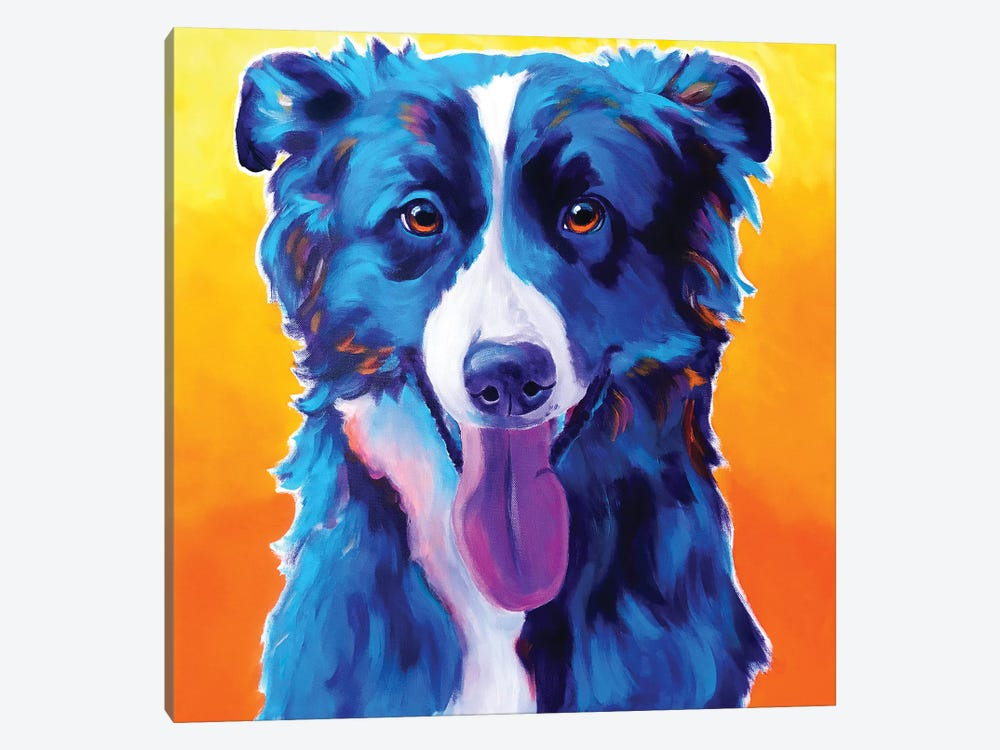 Jinx The Border Collie by DawgArt 1-piece Canvas Print