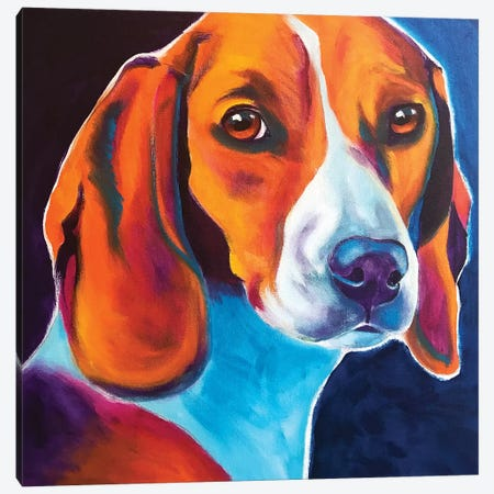 Lucy May The Beagle Canvas Print #DWG174} by DawgArt Art Print