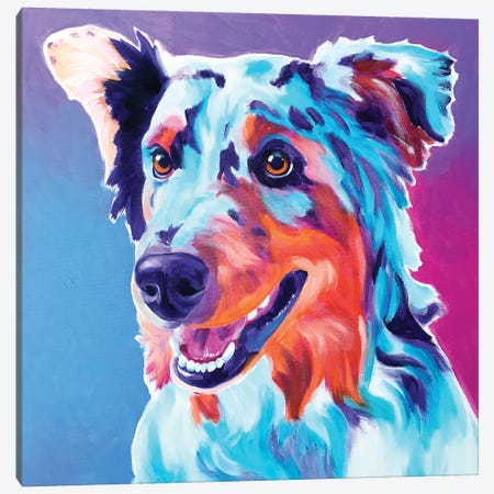 Pepper The Aussie Canvas Print #DWG180} by DawgArt Canvas Print