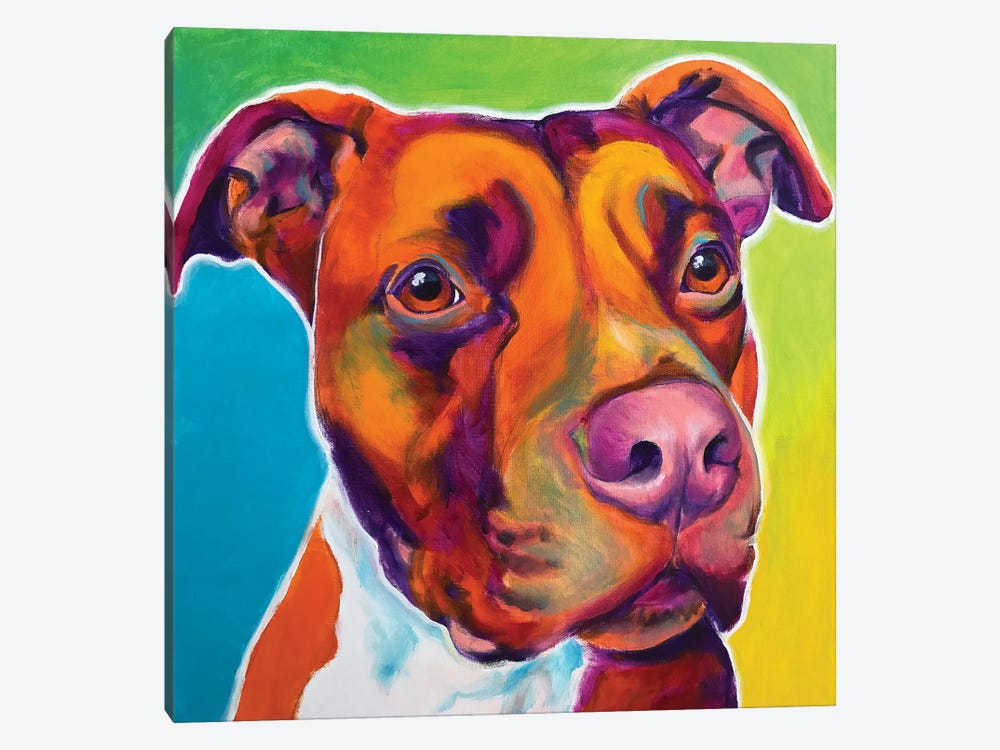 Red The Pit Bull by DawgArt 1-piece Canvas Art