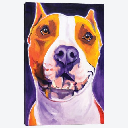 Rexy The Pit Bull Canvas Print #DWG183} by DawgArt Art Print