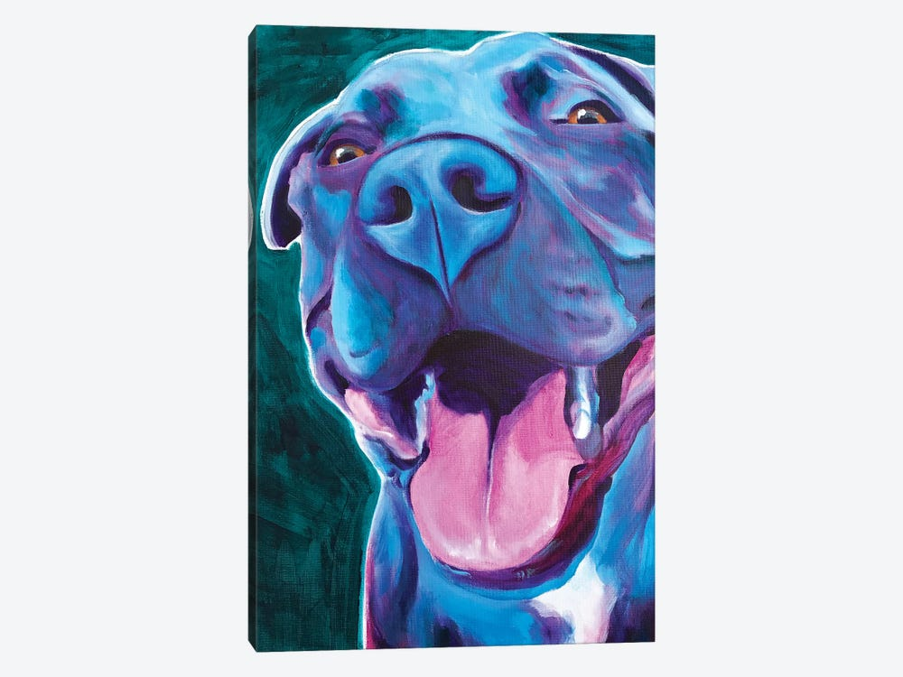 Sky Blue The Pit Bull by DawgArt 1-piece Canvas Art Print