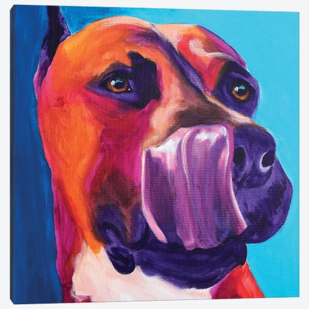 Tasty The Pit Bull Canvas Print #DWG188} by DawgArt Canvas Print