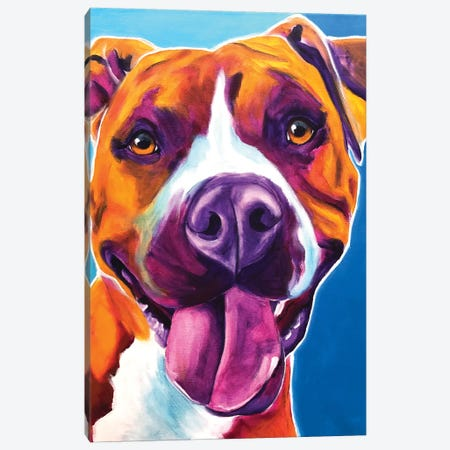 Yummy The Pit Bull Canvas Print #DWG193} by DawgArt Canvas Artwork