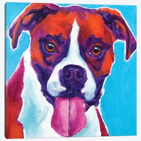 Lucy The Boxer Canvas Print #DWG202} by DawgArt Canvas Wall Art