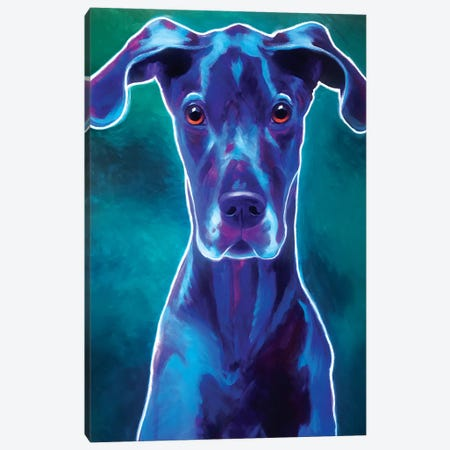 Blue The Great Dane 3-Piece Canvas #DWG211} by DawgArt Canvas Print