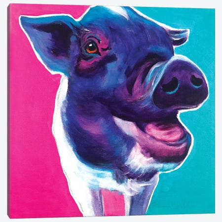 Sophie The Pig Canvas Print #DWG214} by DawgArt Canvas Wall Art