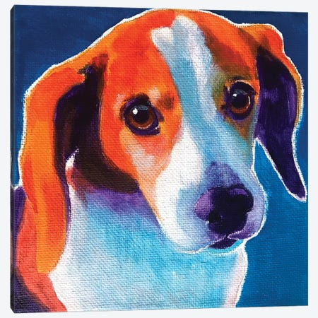 Beagle - Chase Canvas Print #DWG220} by DawgArt Canvas Wall Art
