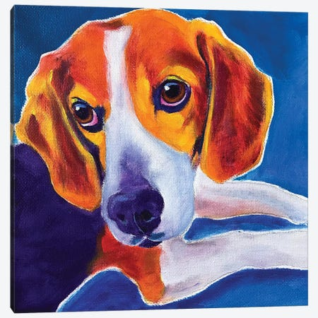 Beagle - Peyton Canvas Print #DWG222} by DawgArt Canvas Artwork